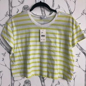 Splendid Cass Striped Cropped Tee Shirt - Large